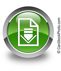 Download document icon glossy soft green round button