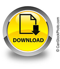 Download (document icon) glossy yellow round button