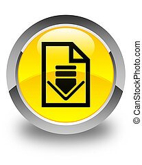 Download document icon glossy yellow round button