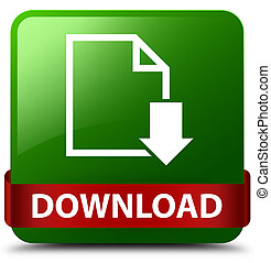 Download (document icon) green square button red ribbon in middle