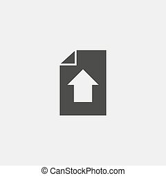 Download document icon in a flat design in black color. Vector illustration eps10