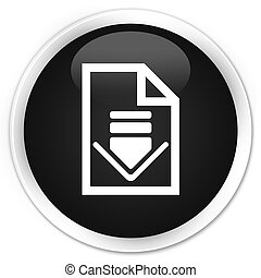 Download document icon premium black round button