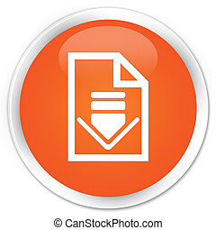 Download document icon premium orange round button