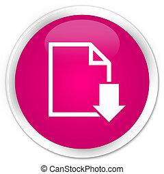 Download document icon premium pink round button