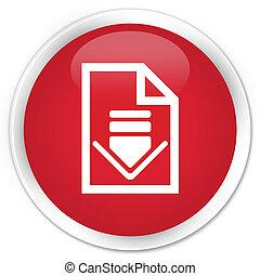 Download document icon premium red round button