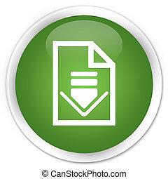 Download document icon premium soft green round button