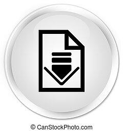 Download document icon premium white round button