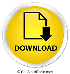 Download (document icon) premium yellow round button
