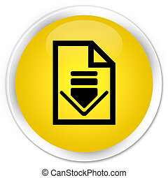 Download document icon premium yellow round button
