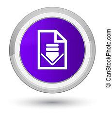 Download document icon prime purple round button