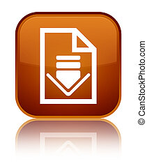 Download document icon special brown square button