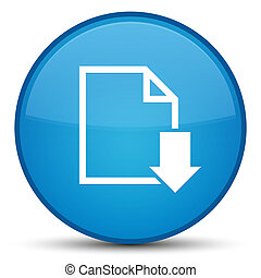 Download document icon special cyan blue round button