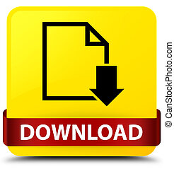 Download (document icon) yellow square button red ribbon in middle