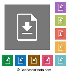 Download document square flat icons
