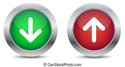 download, e, upload, botões
