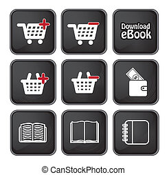 Download - Ebook download button and buy icons over black...