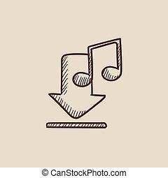 download, esboço, música, icon.