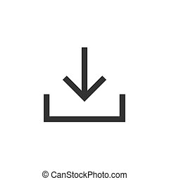 Download file icon in flat style. Arrow down downloading vector illustration on white isolated background. Download business concept.