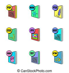 Download file icons set, cartoon style