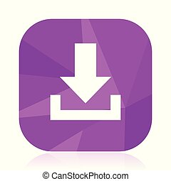 Download flat vector icon. Arrow violet web button. Down internet square sign. Direction modern design symbol in eps 10.