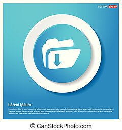Download Folder Icon Abstract Blue Web Sticker Button