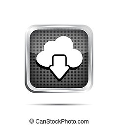 download from cloud metallic icon on a white background