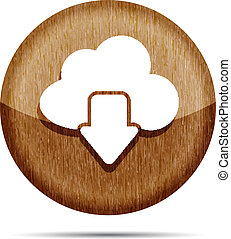 download from cloud wooden icon