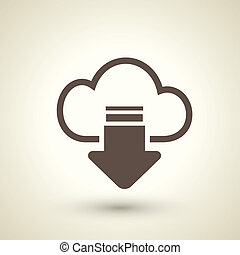 download from the internet cloud flat icon