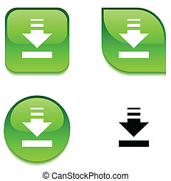 Download glossy button. - Download glossy vibrant web...