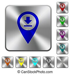 Download GPS map location rounded square steel buttons