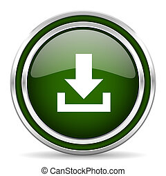 download green glossy web icon