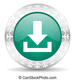 download green icon, christmas button