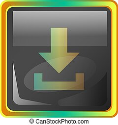 Download grey square vector icon illustration with yellow and green details on white background