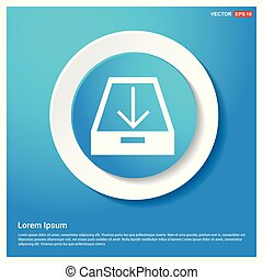 Download icon. Abstract Blue Web Sticker Button