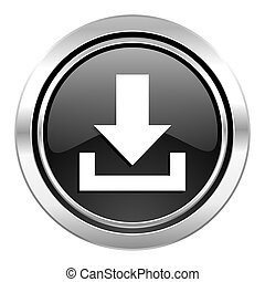 download icon, black chrome button