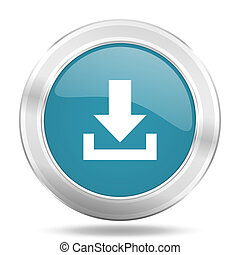 download icon, blue round glossy metallic button, web and mobile app design illustration