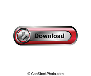 Download icon, button, red
