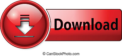 download icon, button, red glossy.