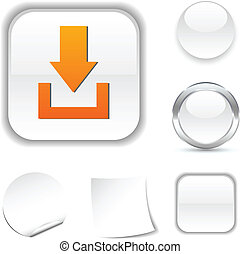 Download icon. - Download white icon. Vector illustration....