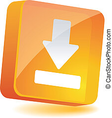 Download Icon. - Download 3d icon. Vector illustration.