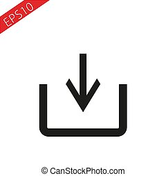 Download icon flat white background. Vector download icon