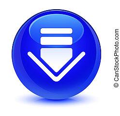 Download icon glassy blue round button