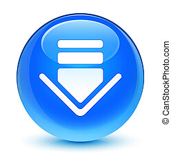 Download icon glassy cyan blue round button