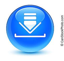 Download icon glassy cyan blue round button