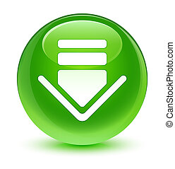 Download icon glassy green round button