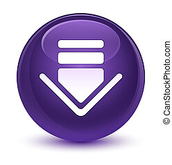 Download icon glassy purple round button