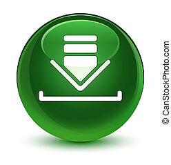 Download icon glassy soft green round button