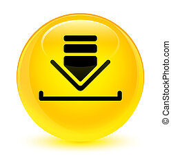 Download icon glassy yellow round button
