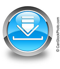 Download icon glossy cyan blue round button