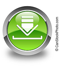Download icon glossy green round button